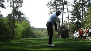 Vijay Singh tees off on 11 at the Masters