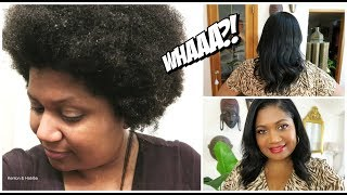 RELAXING MY NATURAL HAIR FOR THE FIRST TIME IN 3 YEARS! Salon Experience! Vlog : Kenton & Habiba
