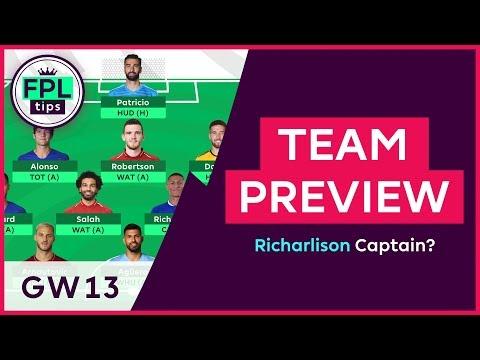 FPL TEAM SELECTION: GW13 | Is Richarlison a Captaincy Option for Gameweek 13? Fantasy Premier League