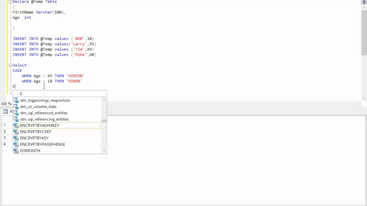 SQL Server CASE WHEN ELSE END Example