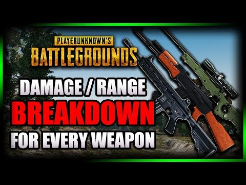 PUBG ► DAMAGE/RANGE BREAKDOWN FOR EVERY WEAPON (Damage Drop-off Distances & Damage values)