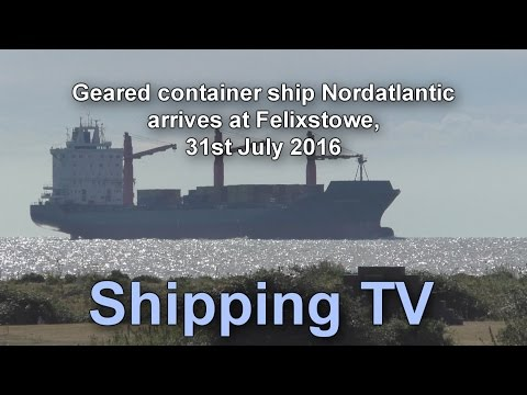 Geared container ship Nordatlantic arriving Felixstowe, 31July 2016