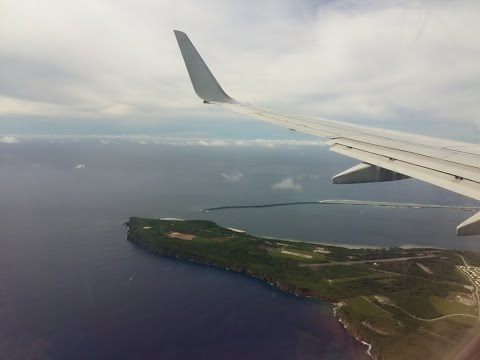 fsx Jin air 641 Landing at Guam int'l airport with real cabin announcement,b737