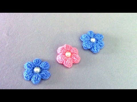 Объемные маленькие цветочки крючком