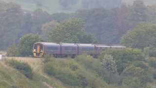 Coupled DMU 158 & 150 passing Newton st Loe ,Bath 28-09-13
