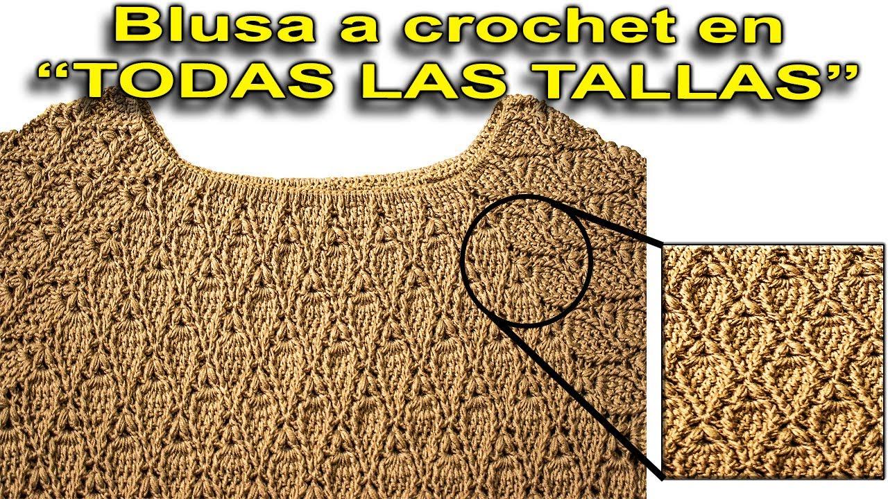 Tutorial a crochet o ganchillo blusa para fiesta fácil y rápido paso a paso