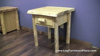 Cedar Lake Cabin 1 Drawer Log Nightstand | Log Night Stand