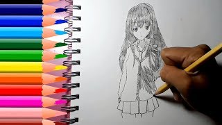 How to draw anime girl, clipart | Smart Bapy