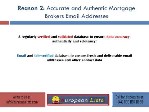 Email and tele-verified European Mortgage Brokers email list
