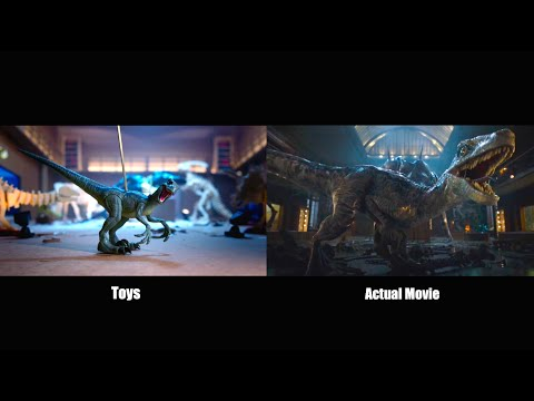 Jurassic World on a budget - Indo Vs Blue - Toys vs Real Movie (side by side)