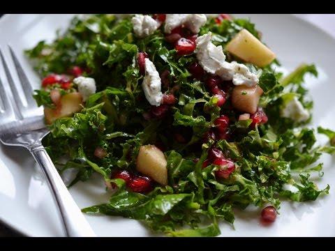 Kale and apple salad with pomegranate vinaigrette