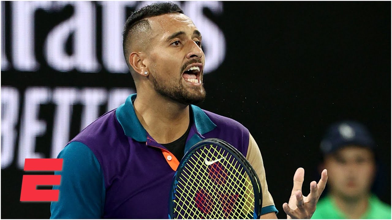 Nick Kyrgios smashes a racket & gets heated with the chair umpire | 2021 Australian Open Highlig
