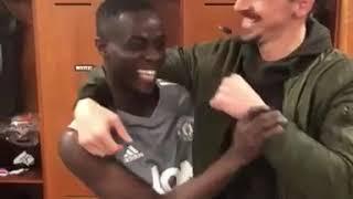 Zlatan Ibrahimovic saying Goodbye to Eric Bailly