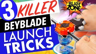 3 New Beyblade Burst Launch Tricks and Stadium Unboxing!  How to win at Beyblades!