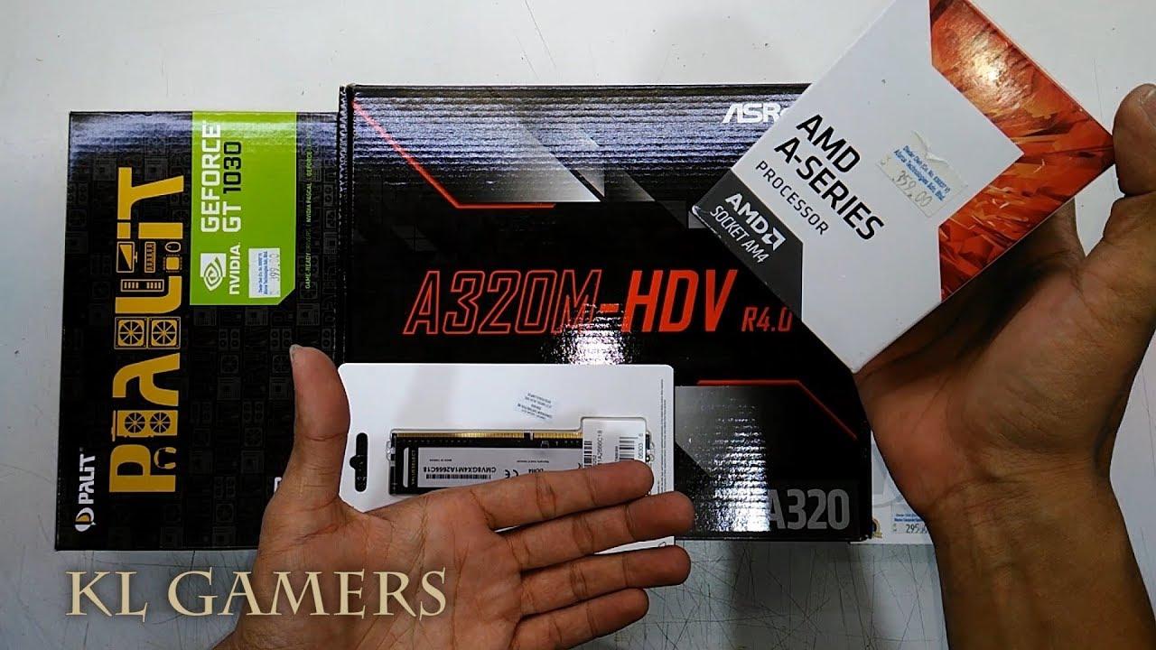 AMD A10-9700 ASRock A320M-HDV R4 0 Transcend SSD Corsair RAM PALIT GT1030  Gaming Desktop 2019
