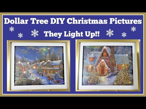 Dollar Tree Diy 🎄 Christmas Picture Lights Up
