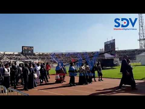 The Late Mzee Moi's family arrives at Nyayo Stadium for his funeral service
