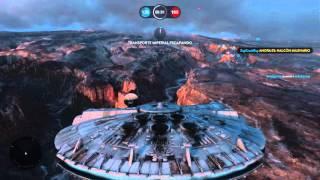 STAR WARS Battlefront - Epica Partida! Escuadron de Cazas! HALCON MILENARIO!