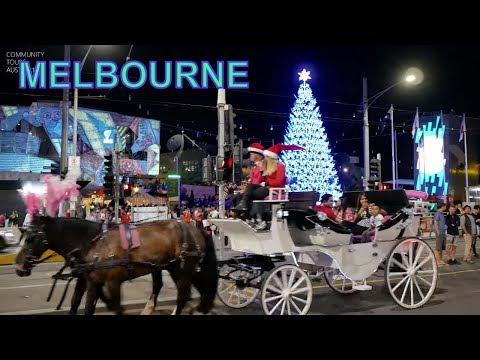 Melbourne City Centre Christmas 2018 City at Night Australia
