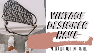 VINTAGE DESIGNER HAUL | GUCCI, DIOR, FENDI, PRADA | SECOND HAND DESIGNER TIPS | LAUREN CROWE