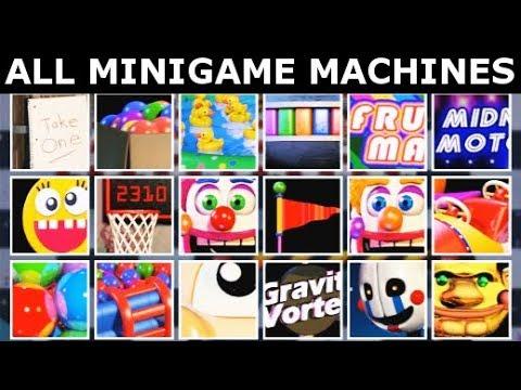 FNAF 6 Extras - All Minigame Machines Showcase (Freddy Fazbear's Pizzeria Simulator)