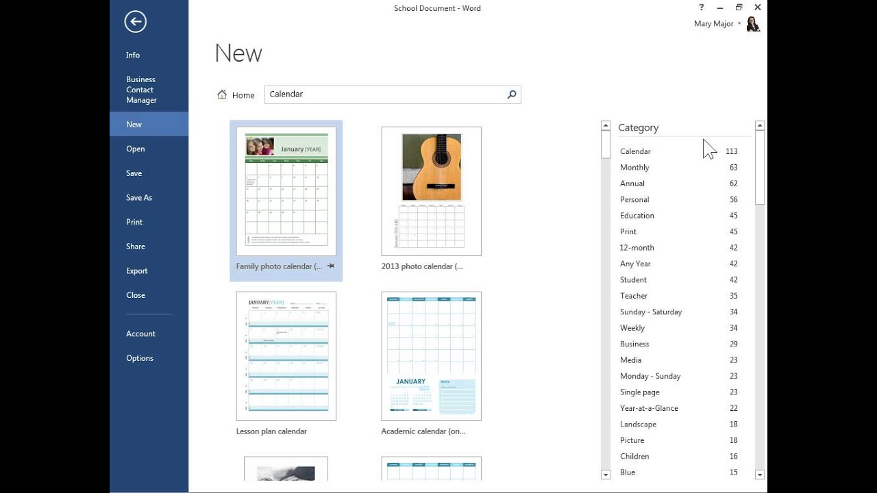 Word 2013 Find Free Calendar Templates on Office.com - YouTube