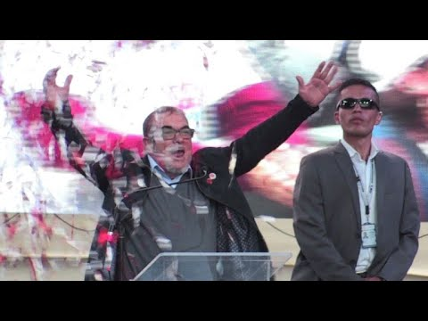 FARC leader holds first election rally in Colombia