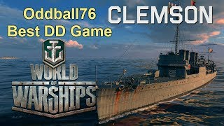 World Of Warships : My Best Destroyer Game USN Clemsom PC Gameplay 2017