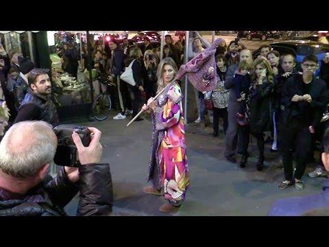 Beautiful Gisele Bundchen shooting outside Café de Flore with Karl Lagerfeld in Paris