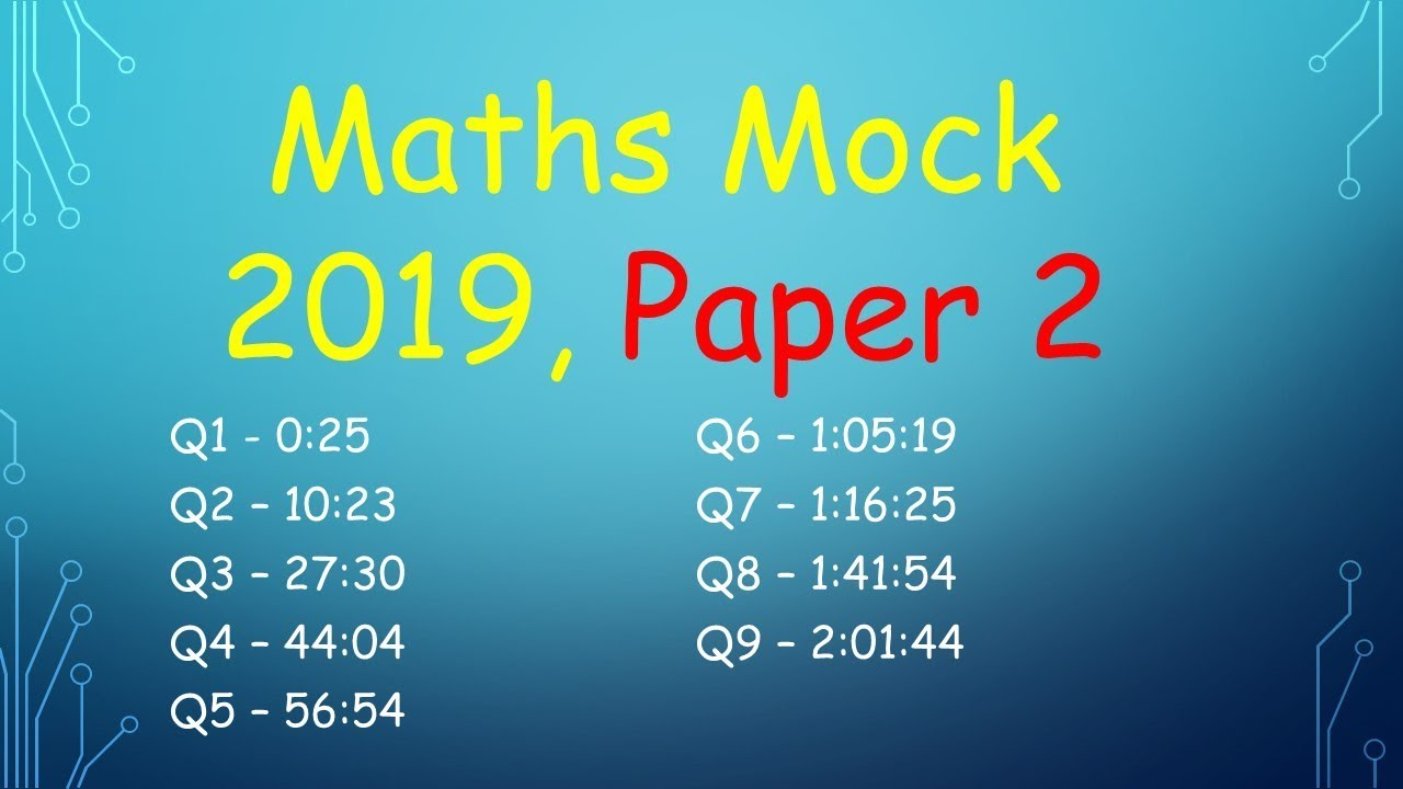 Leaving Cert Higher Level Maths Mock 2019, Paper 2 (DEB)