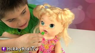 Baby Alive Talking Doll! Play-Doh Chocolate Candy Fun + HobbyPig Toy Review HobbyKidsTV
