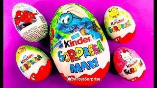 Interesting Surprise Eggs! Huge Kinder Egg Smurfs, Minions, Hello Kitty, Spider Man
