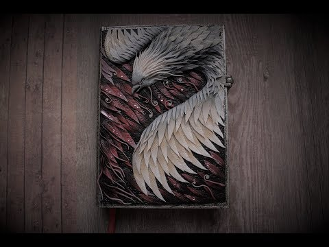 Phoenix art notebook cover form polymer clay