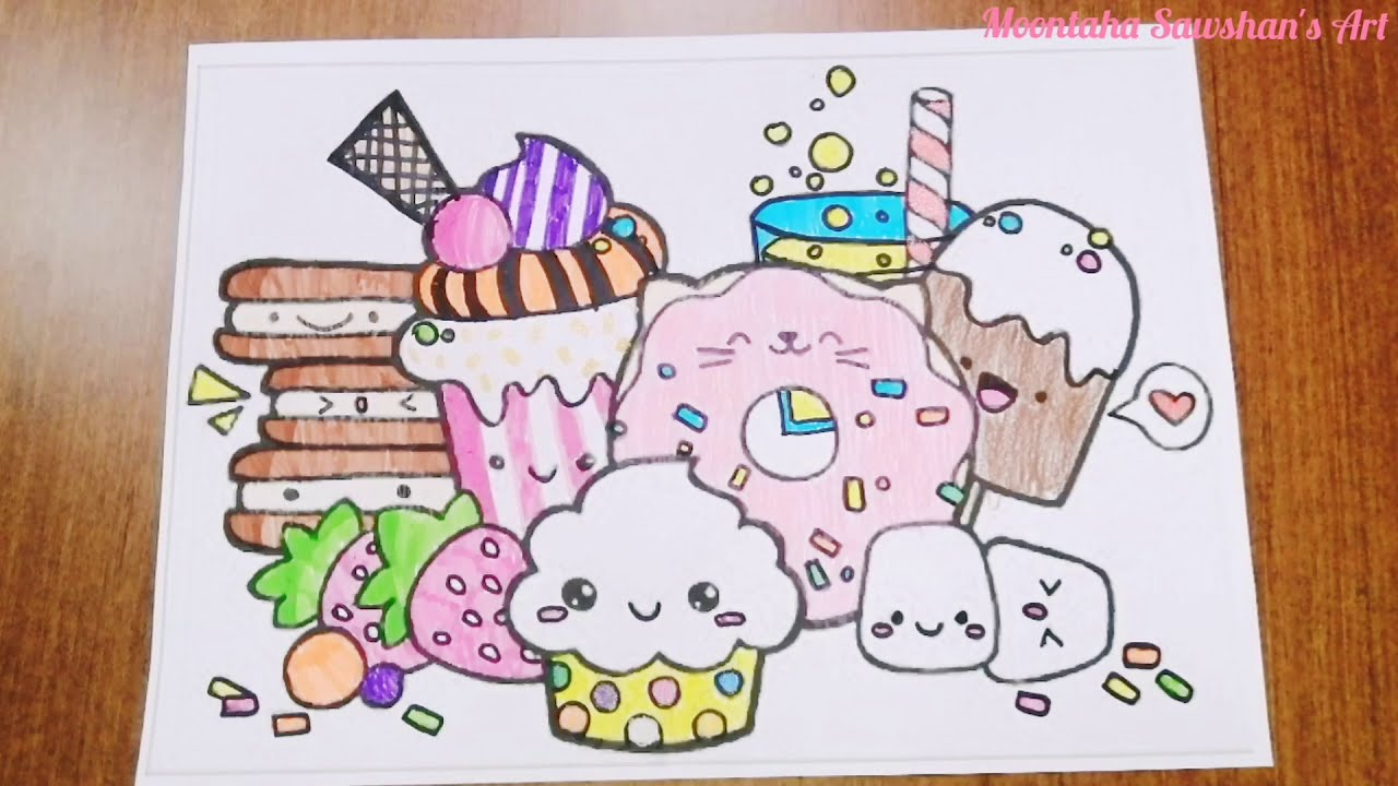 Cute food coloring. Cute dessert kawaii coloring pages. Cute