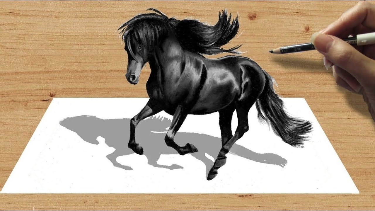3d Pencil Drawing: Black Friesian Horse  Speed Draw  Jasmina Susak