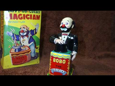 50s Nomura BoBo the Magician Vintage Tin Wind up Toy Japan