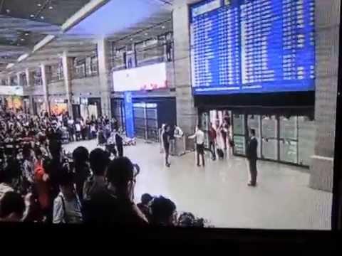 """Korean Monster"" Hyun Jin Ryu Pandamonium at Incheon Airport in Seoul"