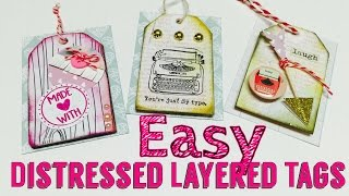 eASY Distressed Layered Tag (For Valentines Pocket Letter) DIY embellishment   I'm A Cool Mom