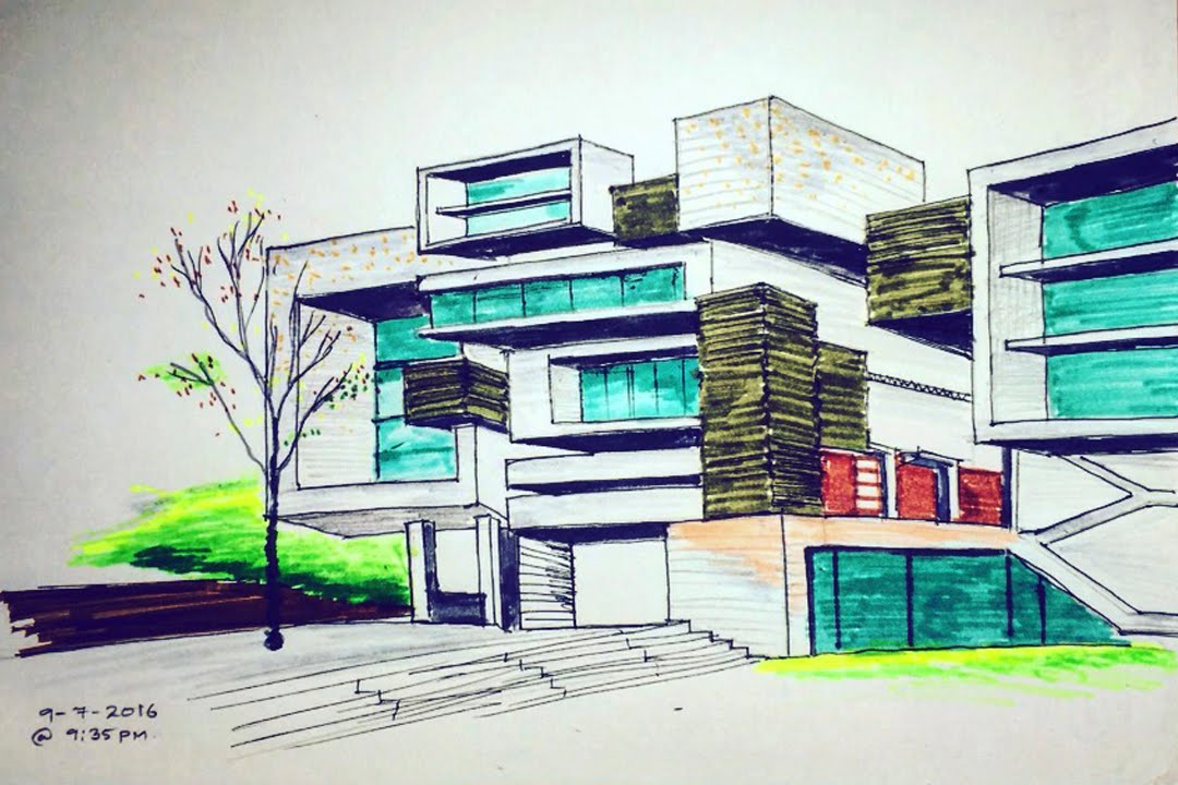 Two point perspective freehand building drawing 2 time for Architecture modern house design 2 point perspective view