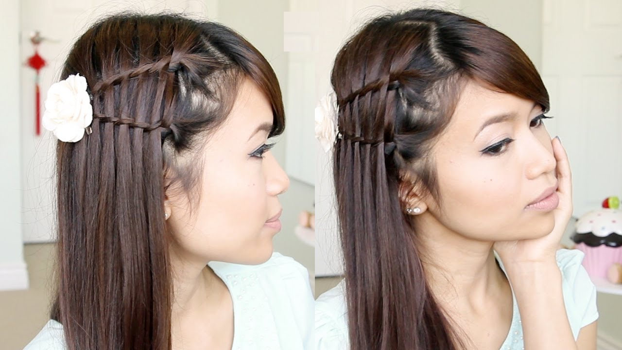 double waterfall twist hairstyle for medium long hair tutorial - bebexo
