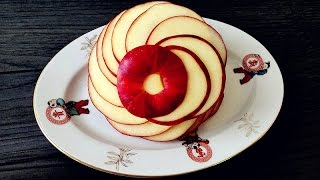 Repeat youtube video How To Make An Apple Rosette | Apple Art | Fruit Carving Garnish | Party Food Decoration