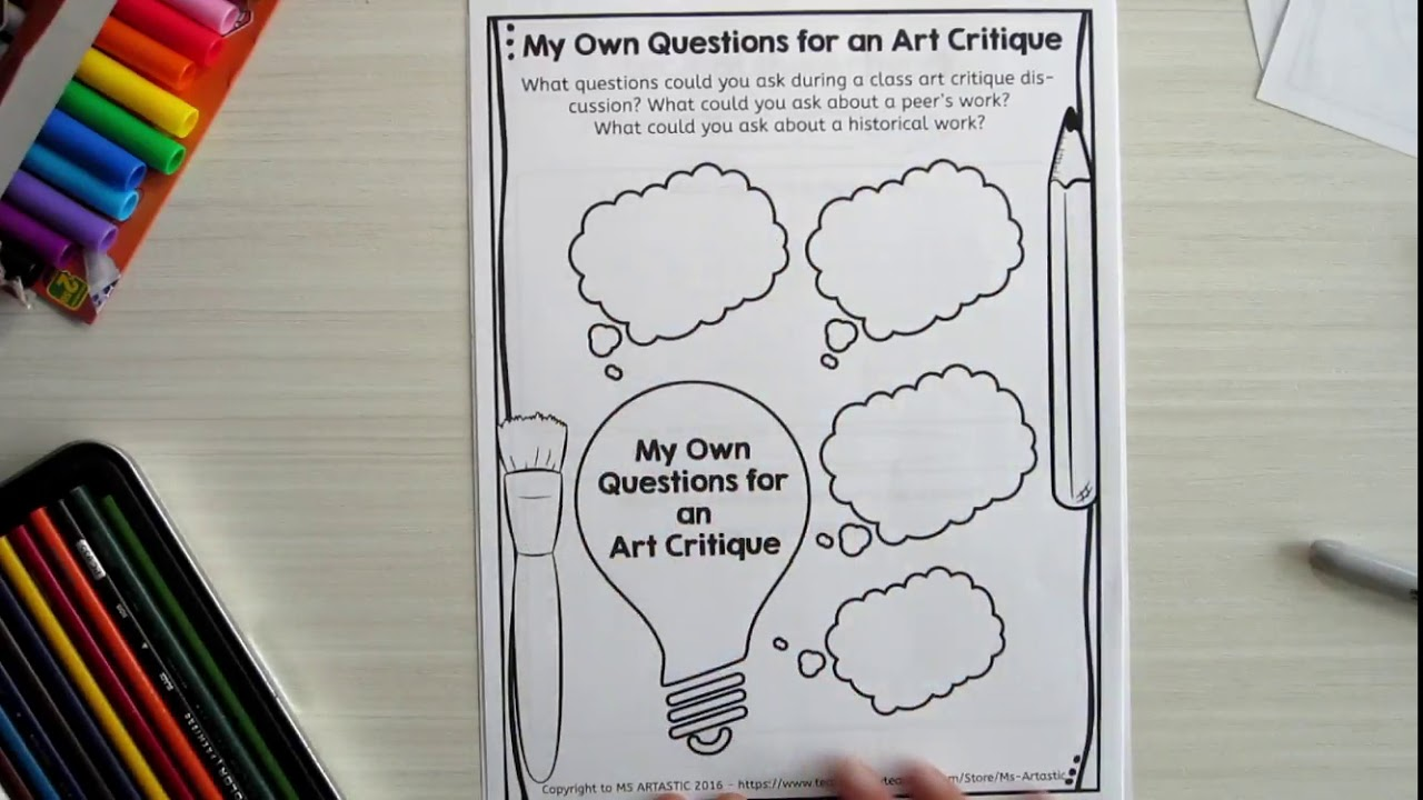 Art Critique Worksheets For The Art Classroom Ms Artastic