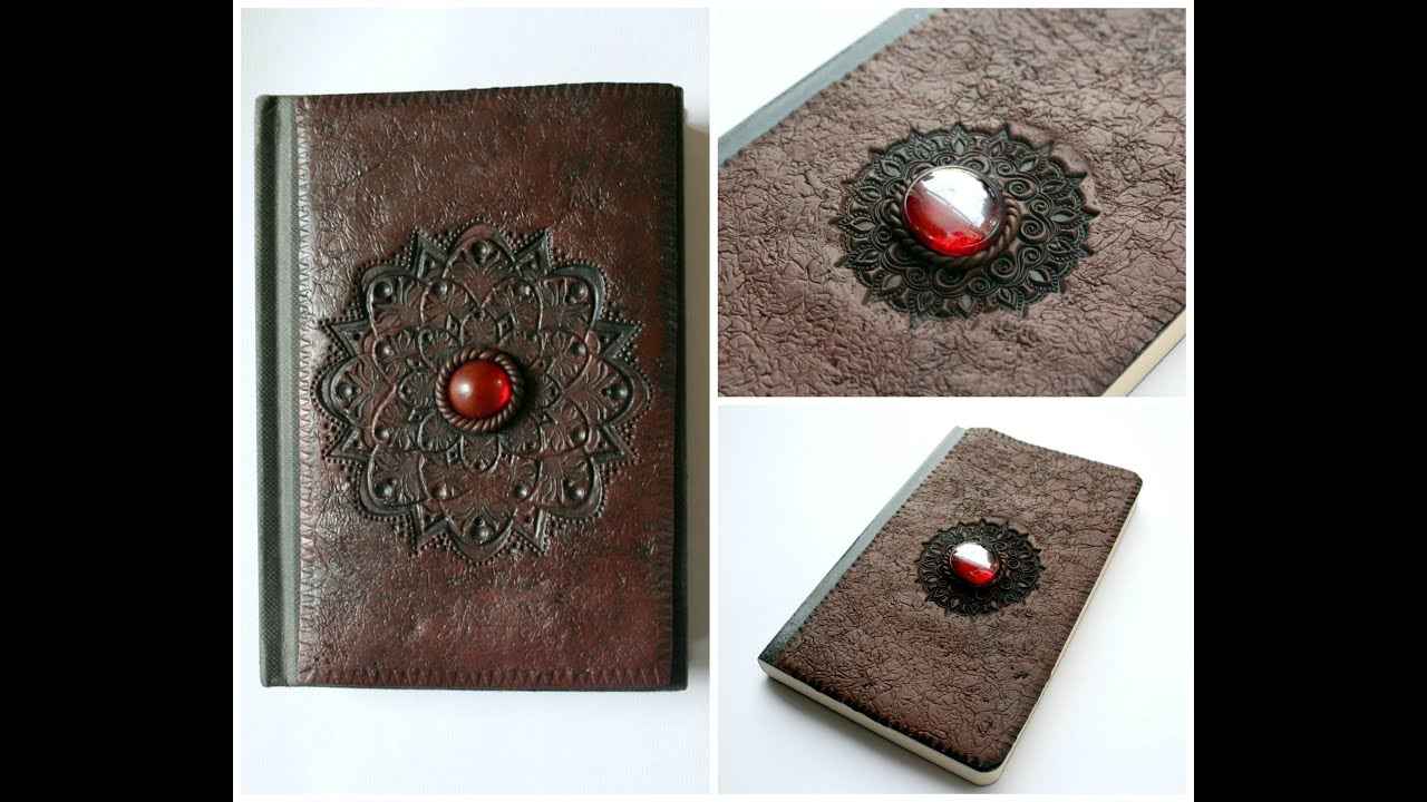 Faux Leather Polymer Clay Notebook Sketchbook Journal