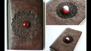 Faux Leather Polymer Clay Notebook/Sketchbook/Journal Cover   Fimo   Velvetorium