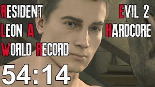 Resident Evil 2 Remake - Leon A Hardcore Speedrun World Record - 54:14