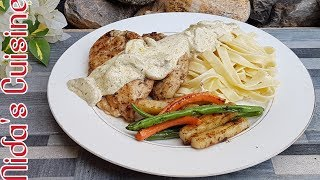 Chicken Steaks with Mushroom Sauce and Pasta / Howdy style Texan steaks / Nida