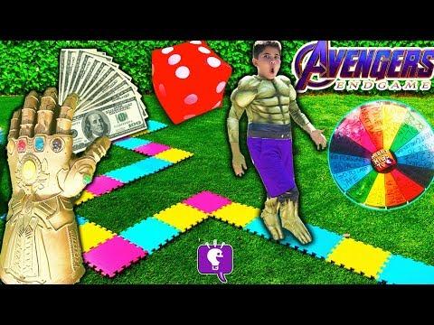 GIANT GAME BOARD IRL! Winner Gets $1,000! Avengers CHALLENGE by HobbyKidsTV
