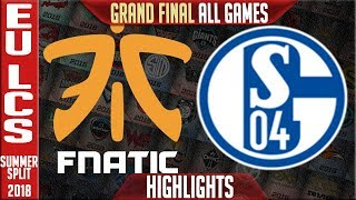 FNC vs S04 Highlights ALL GAMES | EU LCS Playoffs Grand Final Summer 2018 | Fnatic vs FC Schalke 04