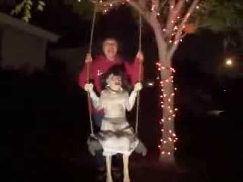spirit halloween zombie girl swings on our halloween tree youtube