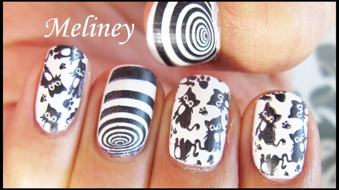 Dizzy Kitty Stamping Nail Art Design Black Cat Vortex Animal Nail